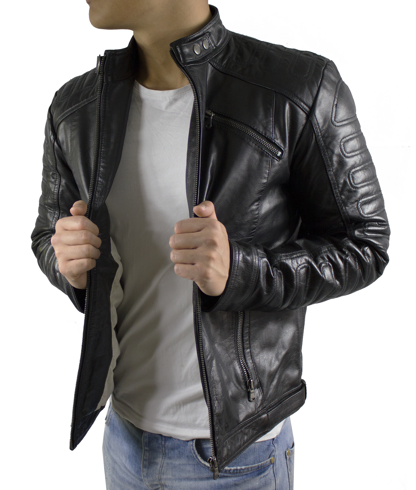 viktor herren echt leder biker lederjacke in diversen. Black Bedroom Furniture Sets. Home Design Ideas